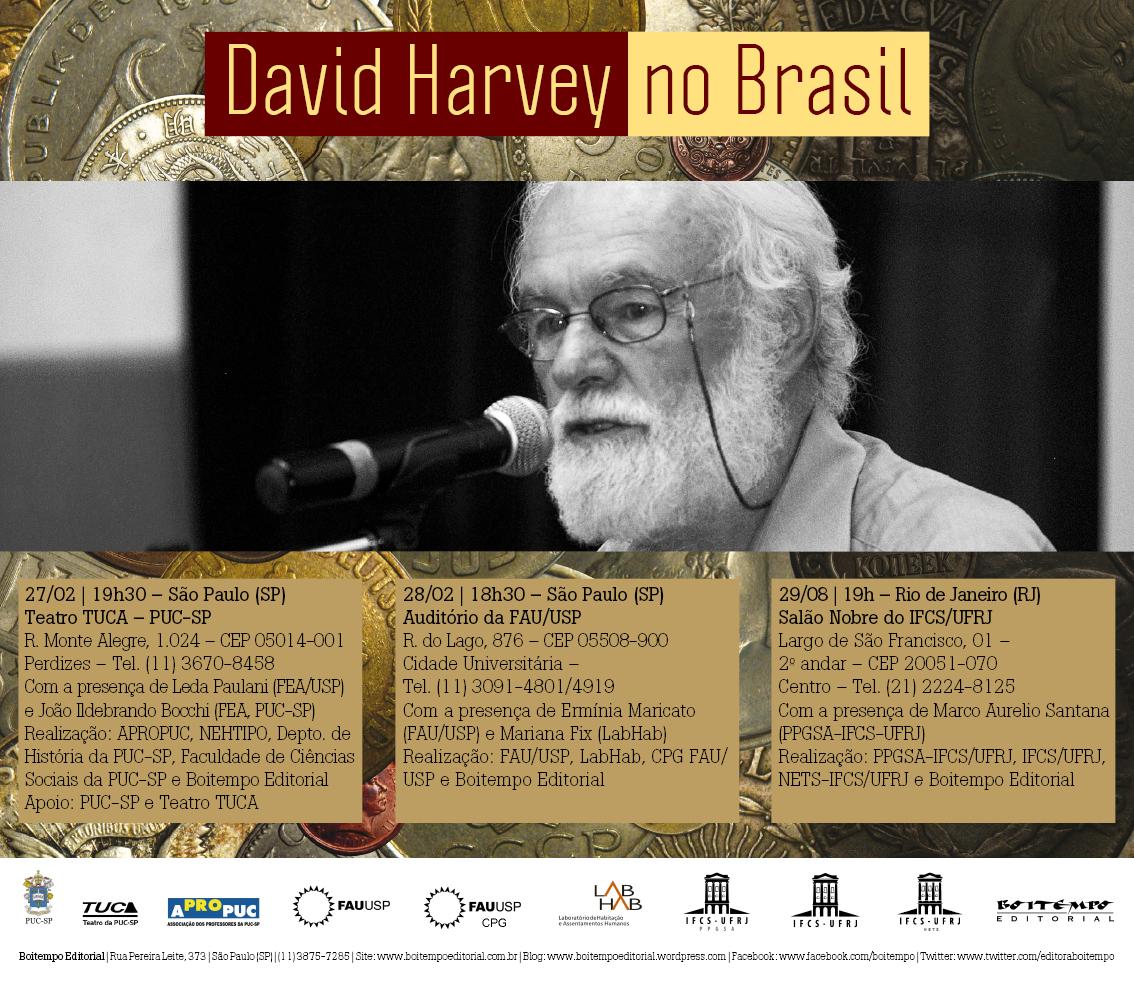 David Harvey no Brasil para conferências e lançamento de livro