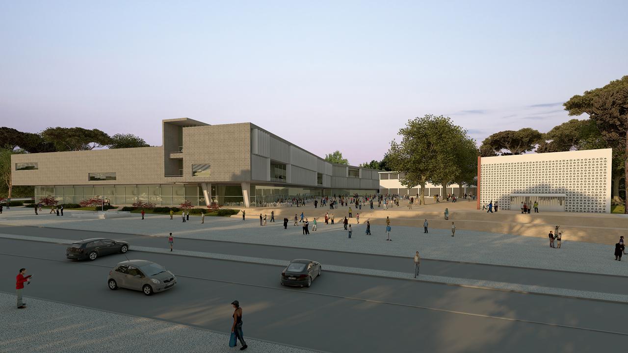 Prêmio Secil Universidades – Arquitetura: Centro Multifuncional e Residência de Estudantes  / Simão Silveira Botelho, Perspectiva Geral