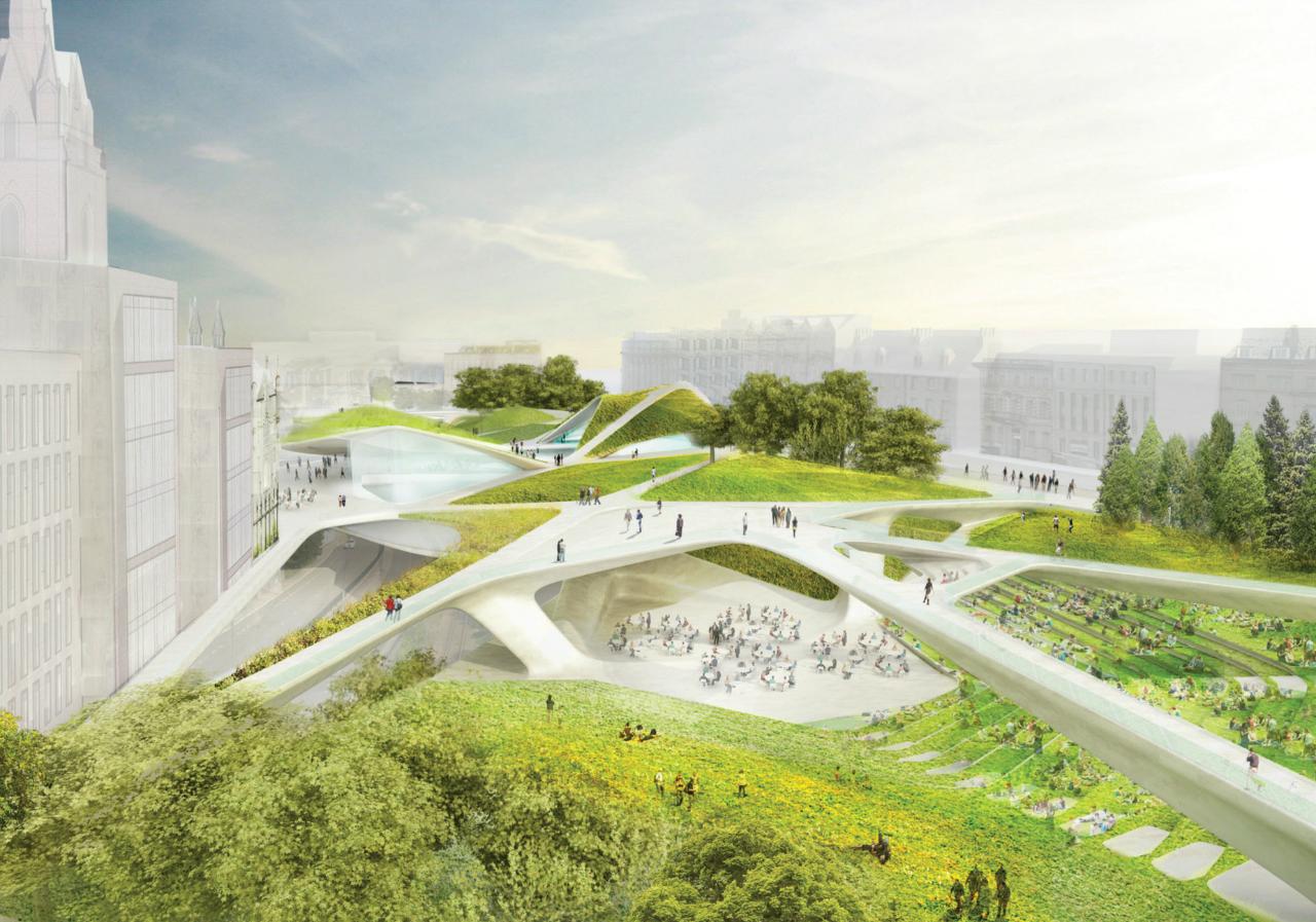 Moradores votam a favor de projeto de  Diller, Scofidio & Renfro's  para Aberdeen City Garden / Escócia , Vista do Viaduto Rosemount  - Imagem Diller Scofidio + Renfro