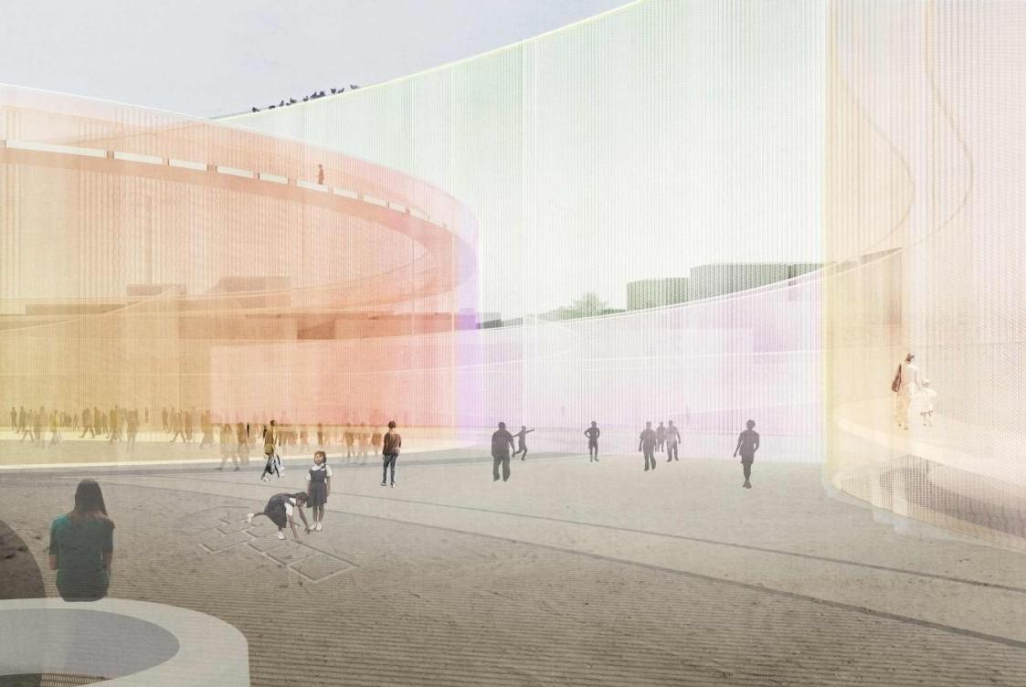 """""""Urban Fabrics"""": Espaço público e uma instalação de telas coloridas, © SO-IL"""