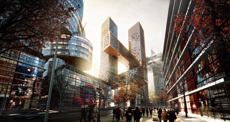 BIG projetam as Torres # Cross em Seul, Coreia do Sul, © MIR