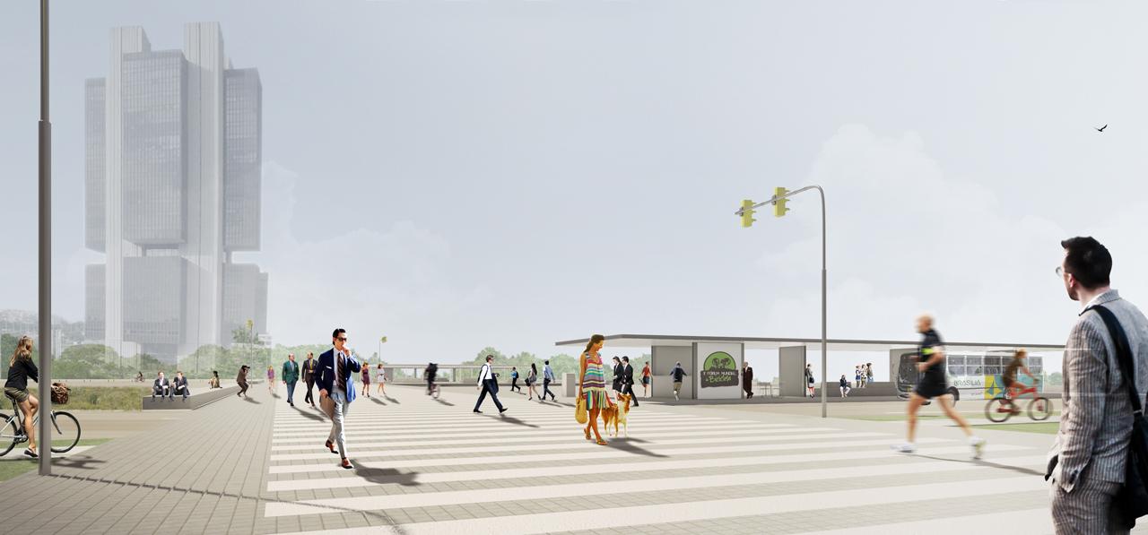 Menção Honrosa: Concurso Nacional de Arquitetura Passagens sob o Eixão de Brasília – DF / 0E1 Arquitetos, Cortesia 0E1 Arquitetos