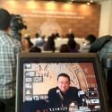 Wang Shu na conferência de imprensa