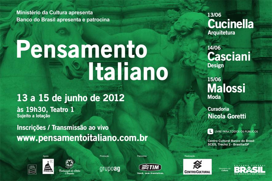 Palestras sobre arquitetura, design, cultura e moda reúnem grandes especialistas italianos / Brasília - DF, Divulgação