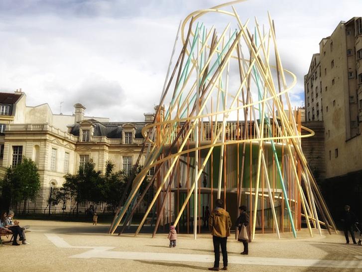 Sticks: Creches Infantis para Parques Urbanos em Paris, Imagens via Inhabitat