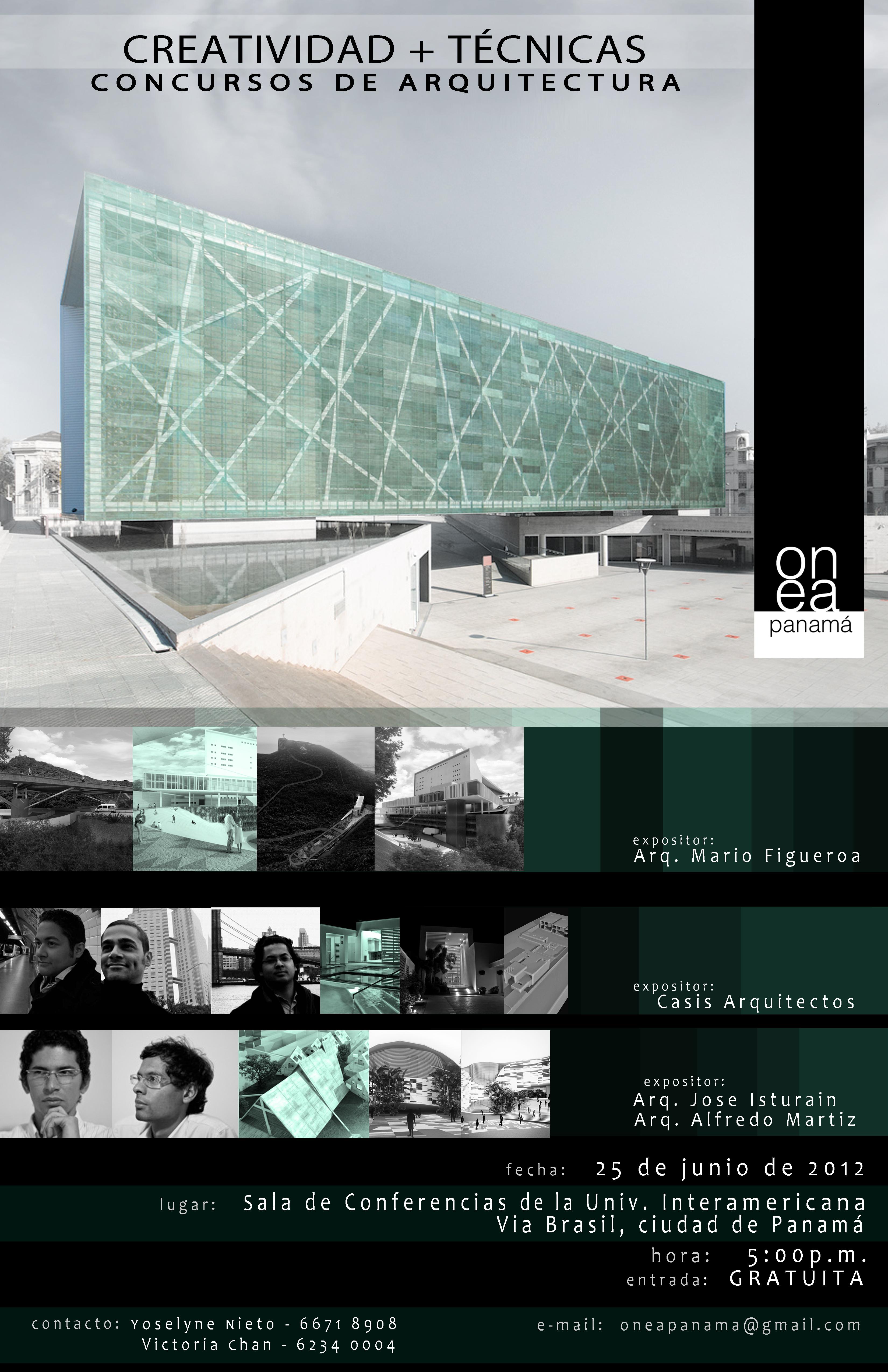 Conferência ONEA: Criativade +Técnicas - Concursos de Arquitetura / Panamá, Divulgação