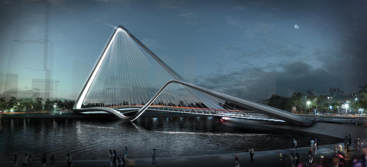 1° Lugar - Concurso para a Ponte Zhuhai Shizimen / 10 Design, Cortesia 10 Design