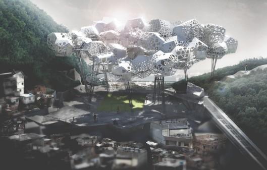 """""""Favela Cloud"""": Novas Possibilidades Espaciais e Sociais no Rio de Janeiro, Imagens via eVolo"""