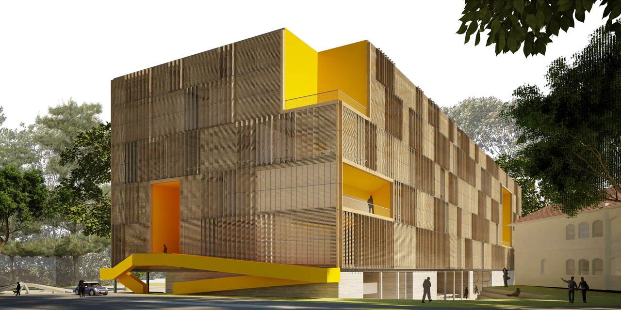 1° Lugar: Concurso Campus Cabral Curitiba / Studio Arthur Casas, Vista Acesso lateral