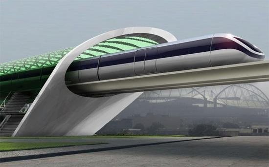 Esqueça a Alta Velocidade, o próximo transporte será em Hiper-Velocidade, Uma renderização conceitual para o Aeromóvel, um sistema Elon Musk semelhante à sua Hyperloop. Foto via Dvice.