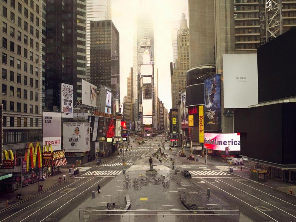 """""""Silent World"""" Como seriam as cidades sem pessoas?, Times Square, NYC, Estados Unidos © Lucie&Simon"""