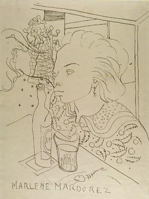 Desenhos de Burle Marx são exibidos no Museu Nacional dos Correios / Brasília - DF, 'Marlene Mardorez', desenho de Burle Marx que está na mostra do Museu Nacional dos Correios (Foto: Burle Marx / Reprodução)
