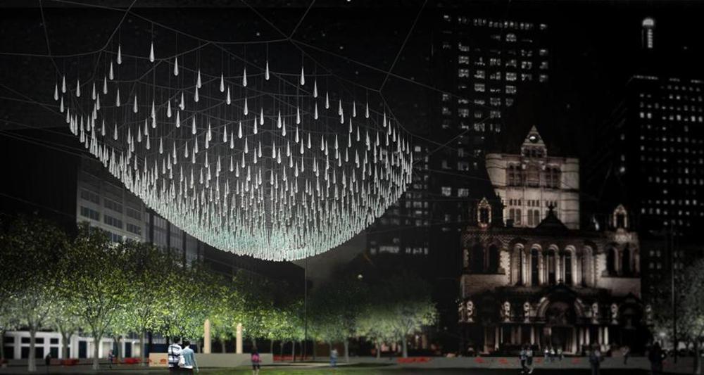 Finalistas do Concurso de Iluminação Glow / Estados Unidos, The Crystal Sun Chandelier - Vía The Boston Globe