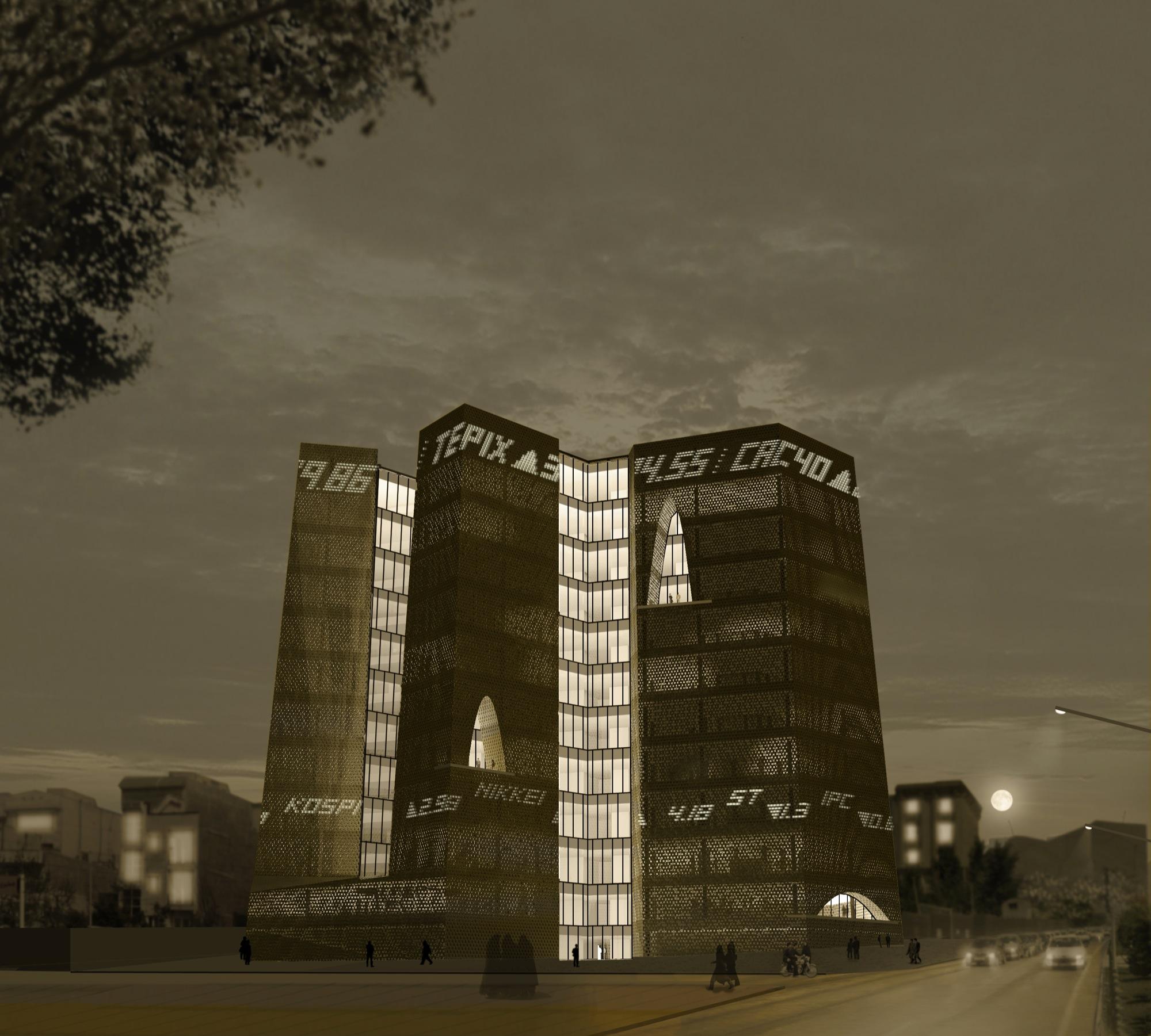 1°Lugar: Concurso Bolsa de Valores de Teerã : Alejandro Aravena Architects & VAV Studio , Fachada Sudeste - Noite © Alejandro Aravena