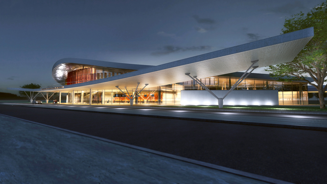 Aeroporto Internacional de Nacala / Fernandes Arquitetos Associados, Fachada Noturna