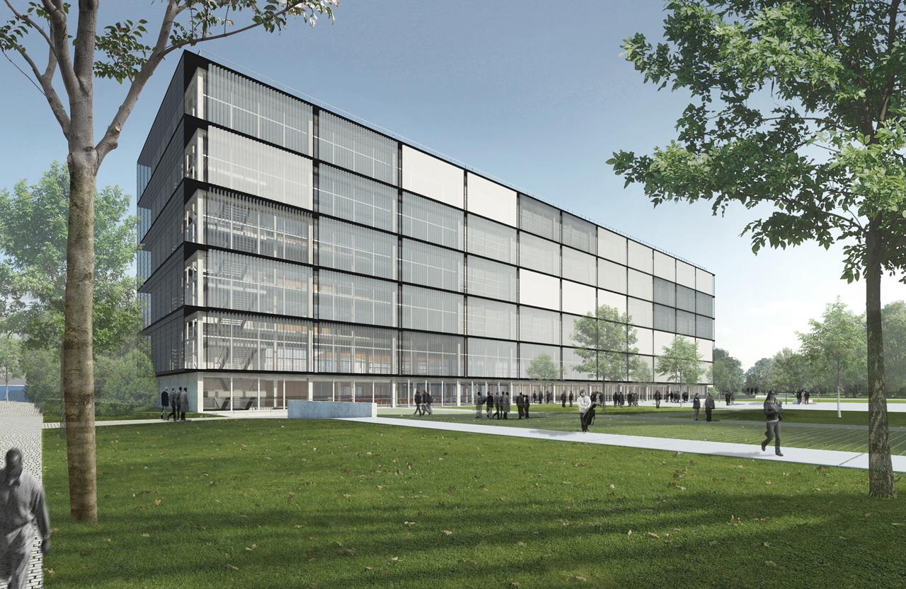 2º Lugar: Campus Cabral – UFPR / Jobim.Carlevaro.Rotolo Arquitetos, Vista da Fachada Sul à partir da Praça