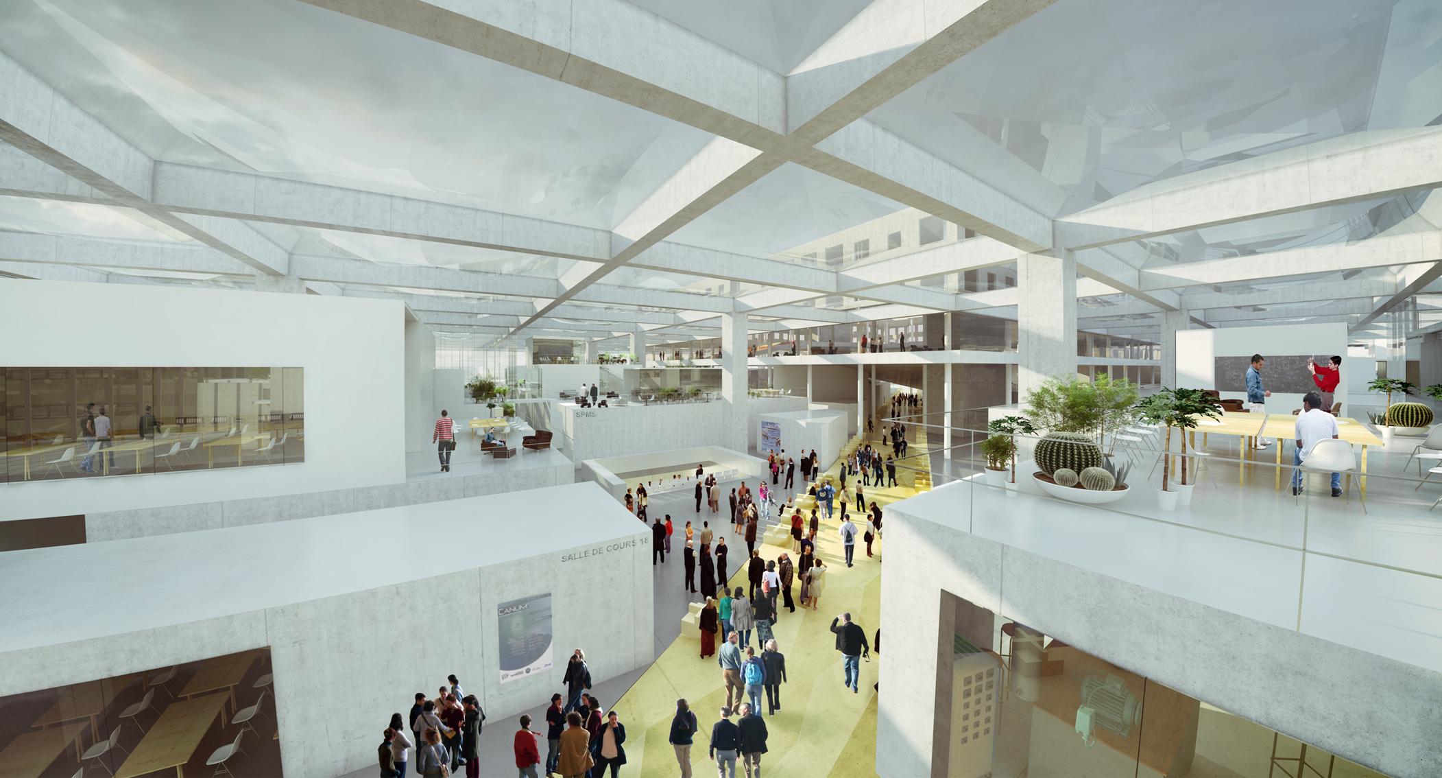 OMA vence concurso para nova Escola de Engenharia na França, Público atravessando o LabCity - Imagem cortesia da OMA
