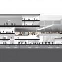 Seção mostrando a integração do bloco central, com vista a LabCity - Imagem cortesia da OMA