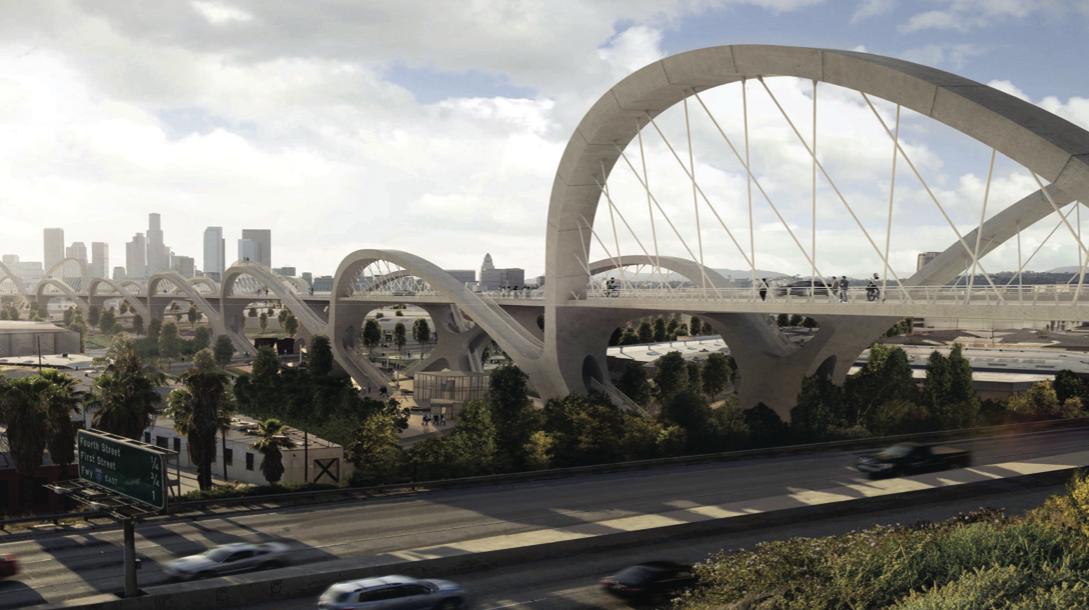 HNTB vence concurso internacional para redesenhar a histórica ponte da Rua Seis em Los Angeles, © HNTB proposta vencedora via Sixth Street Viaduct Replacement Project
