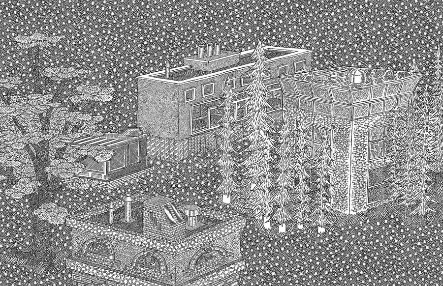 Arte e Arquitetura: Ilustrações de Powers Bowman, Cortesia de J. Powers Bowman