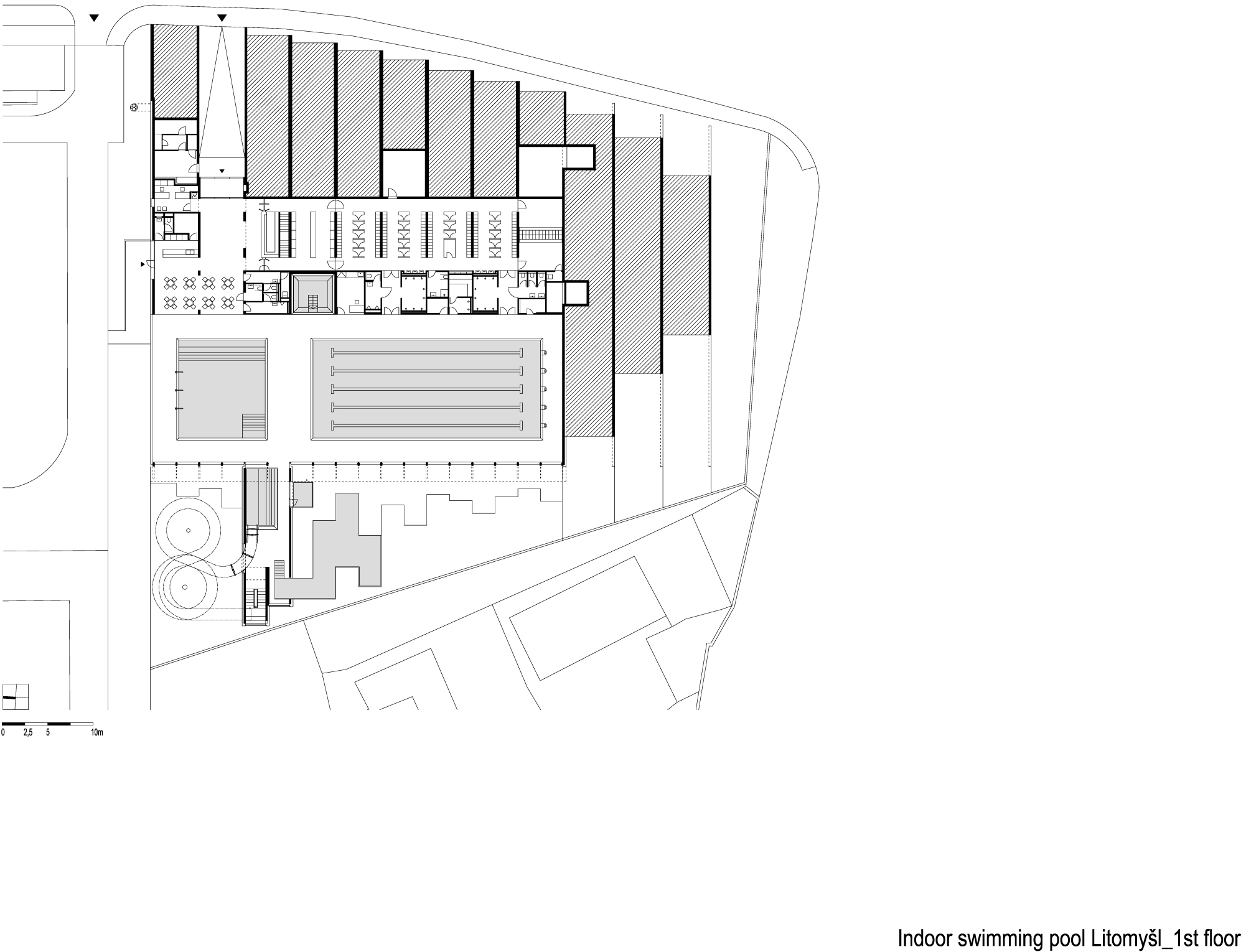 Gallery of indoor swimming pool in litomy l architekti for Swimming pool site plan