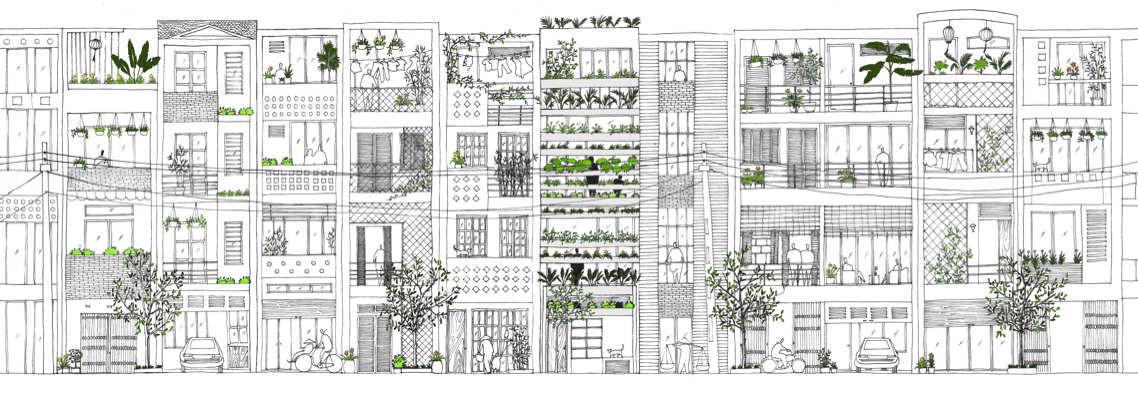 Stacking green / VTN Architects,elevation