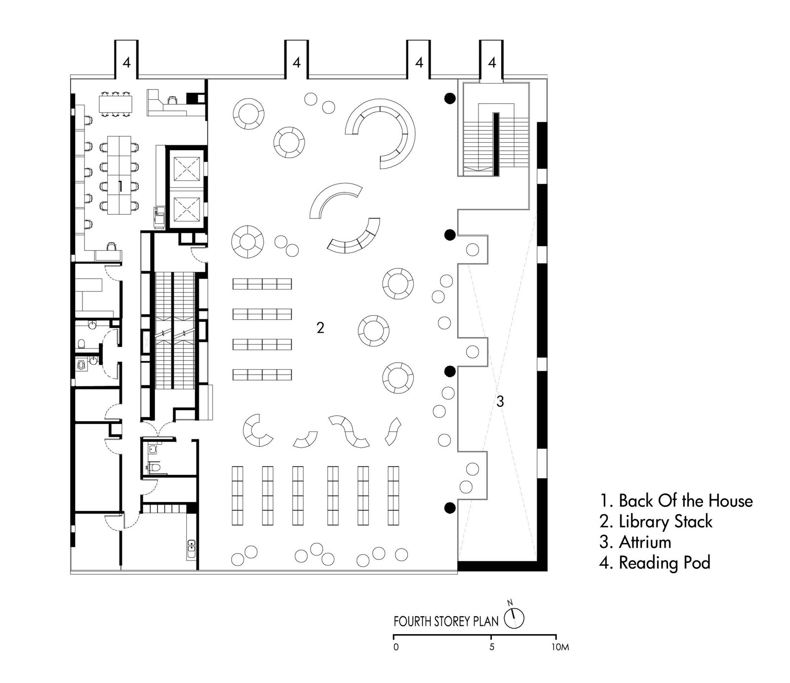 Bishan Public Library / LOOK Architects. 16 / 17. Second Floor Plan