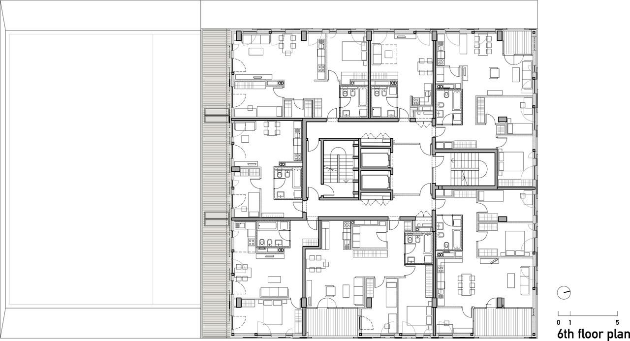 5007659d28ba0d414800215d Residential Building In Slovenia Ravnikar Potokar Arhitekturni 6th Floor Plan on Pole Barn Home Floor Plans