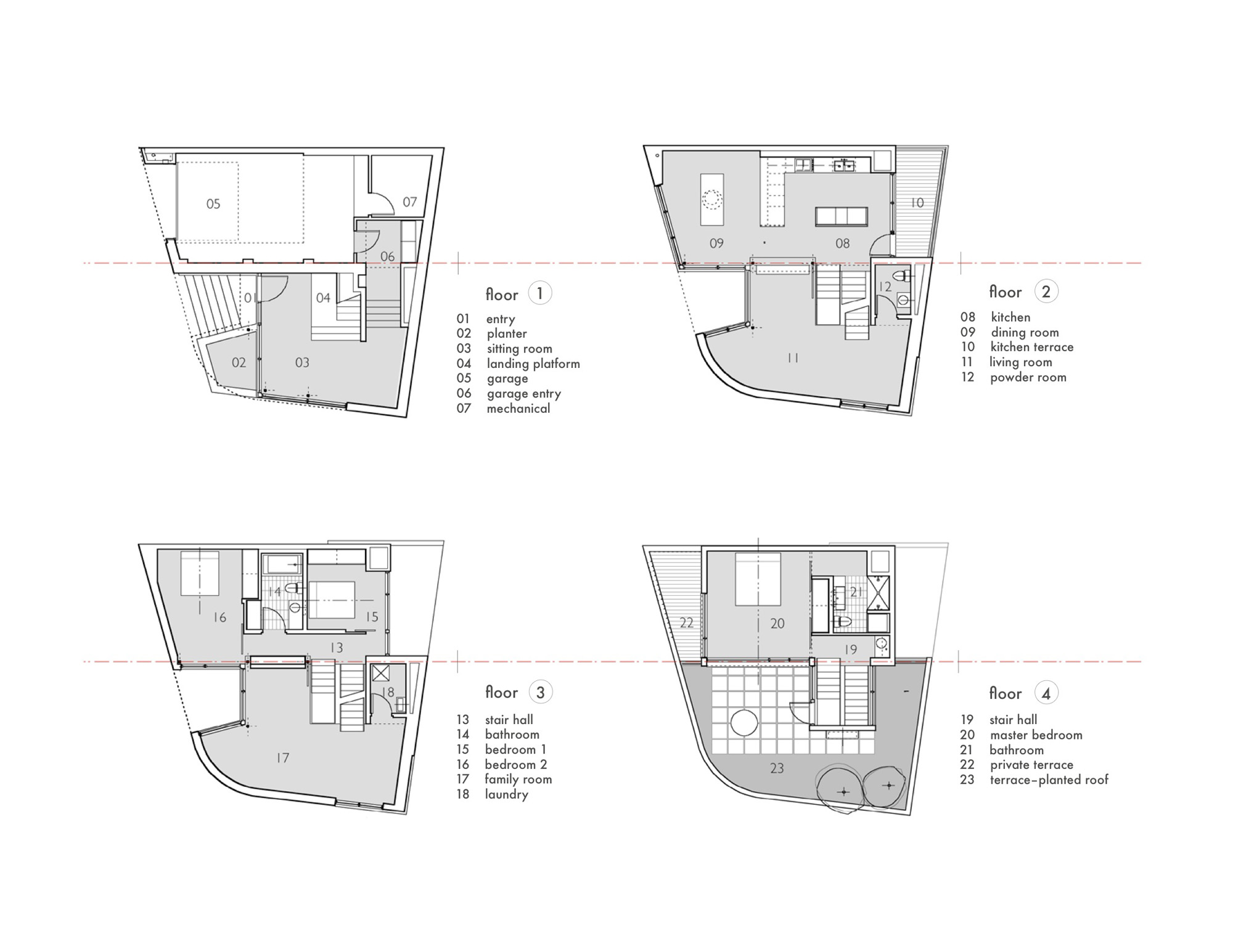 Gallery of split level house qb design 20 for Split floor plan