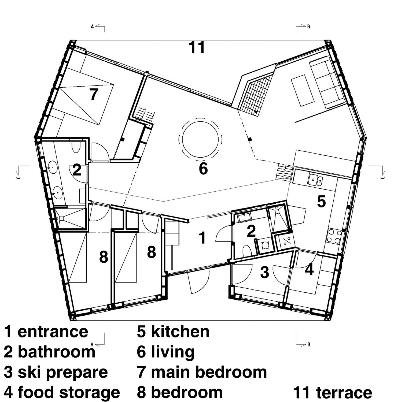 Gallery of cabin nordmarka jva 14 for Arched cabin floor plans