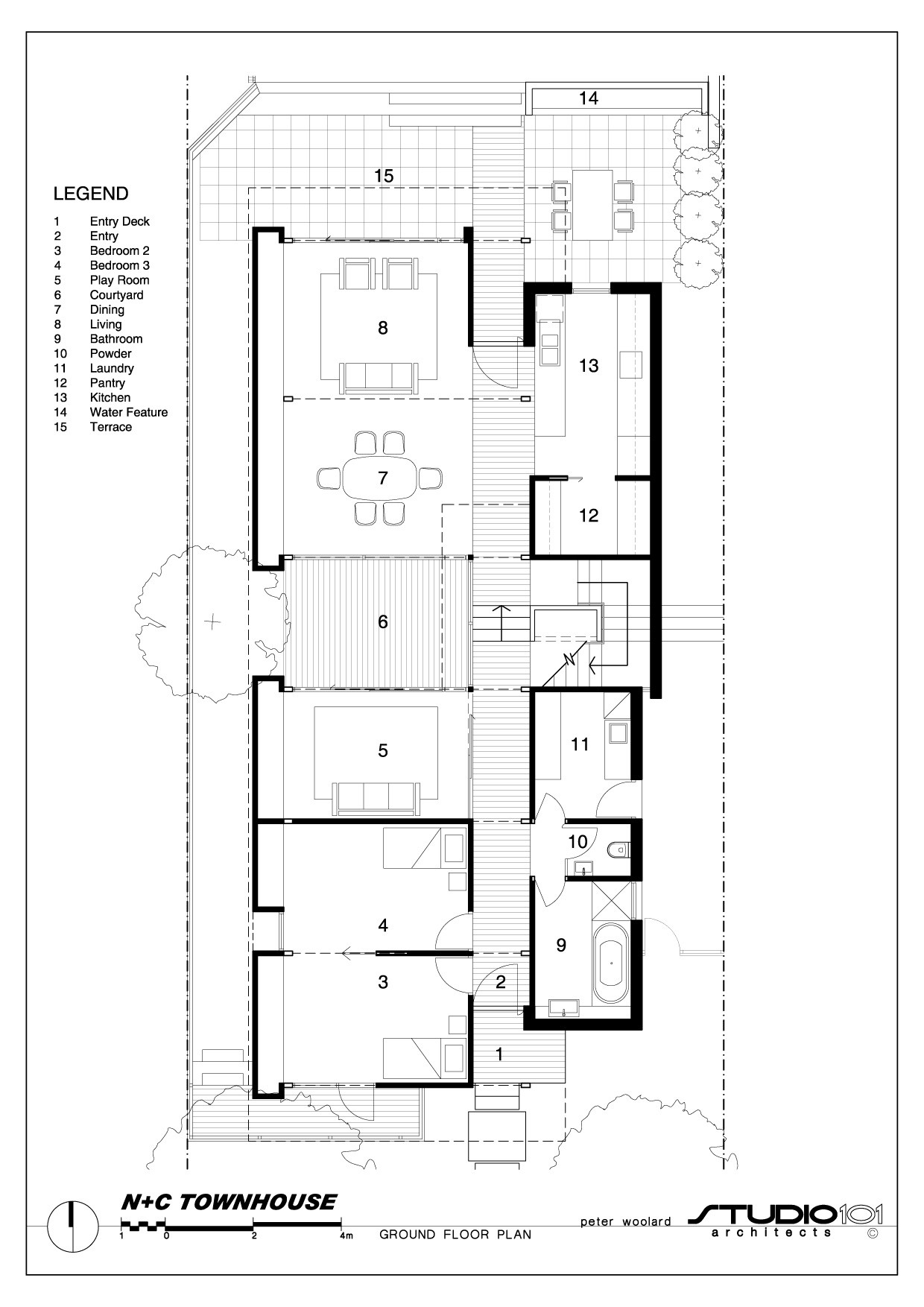 Gallery of n c townhouse studio101 architects 13 for Large townhouse floor plans