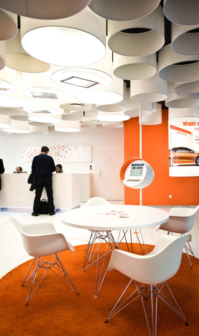 bank and office interiors. New Interior Standard For ING Bank Outlets / Medusa Industry | ArchDaily And Office Interiors