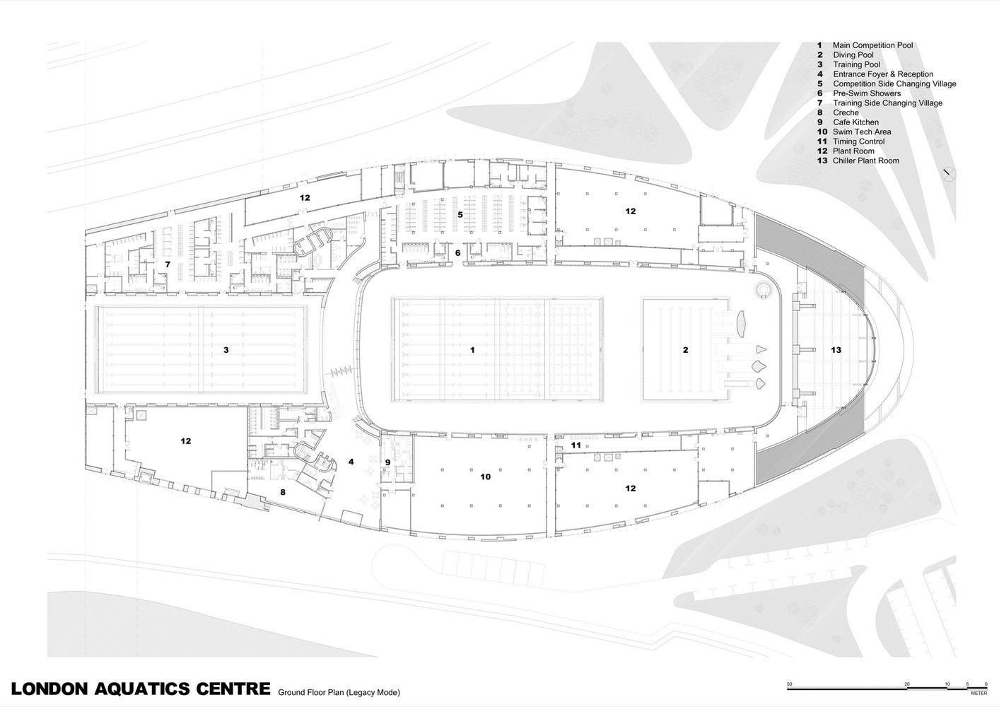 olympic swimming pool 2012. London Aquatics Centre For 2012 Summer Olympics,Ground Floor Plan (Legacy Mode) Olympic Swimming Pool I