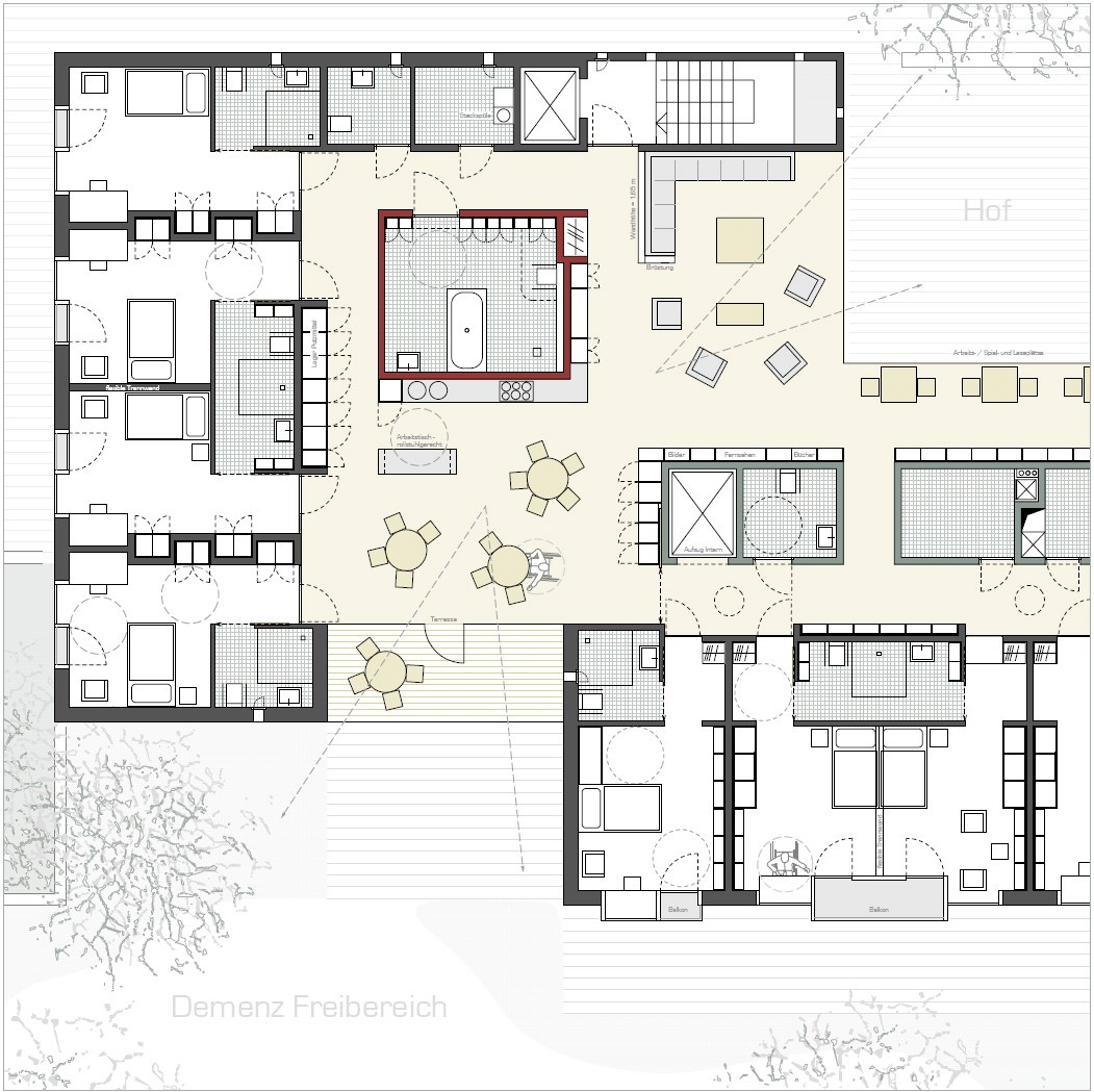 Gallery of veronica house elderly care facility f m b for Group house plans