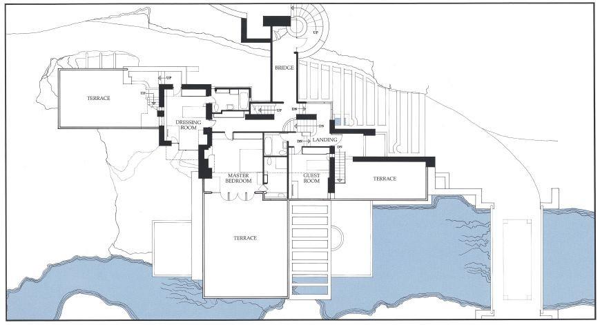 Gallery of ad classics fallingwater house frank lloyd for Frank lloyd wright floor plan