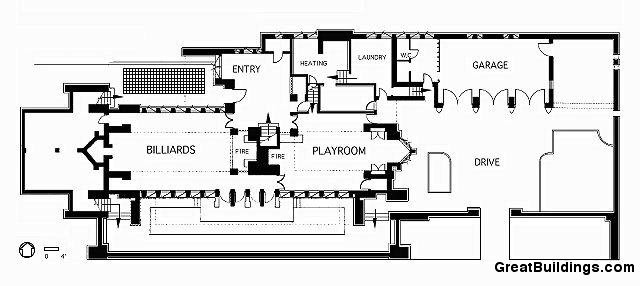 Ad Clics Frederick C Robie House Frank Lloyd Wright Second Floor Plan