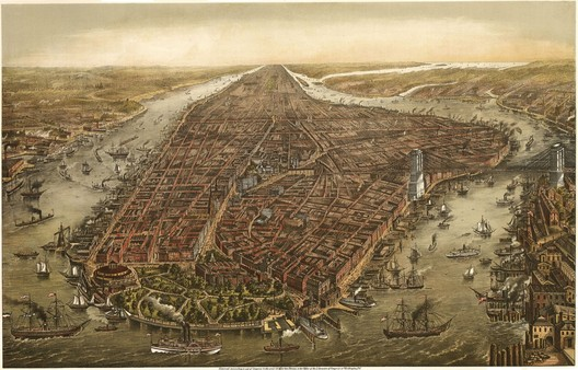 Bird's eye panorama of Manhattan & New York City in 1873. The Brooklyn Bridge is obviously inaccurate as the bridge wouldn't be completed for another 10 years.