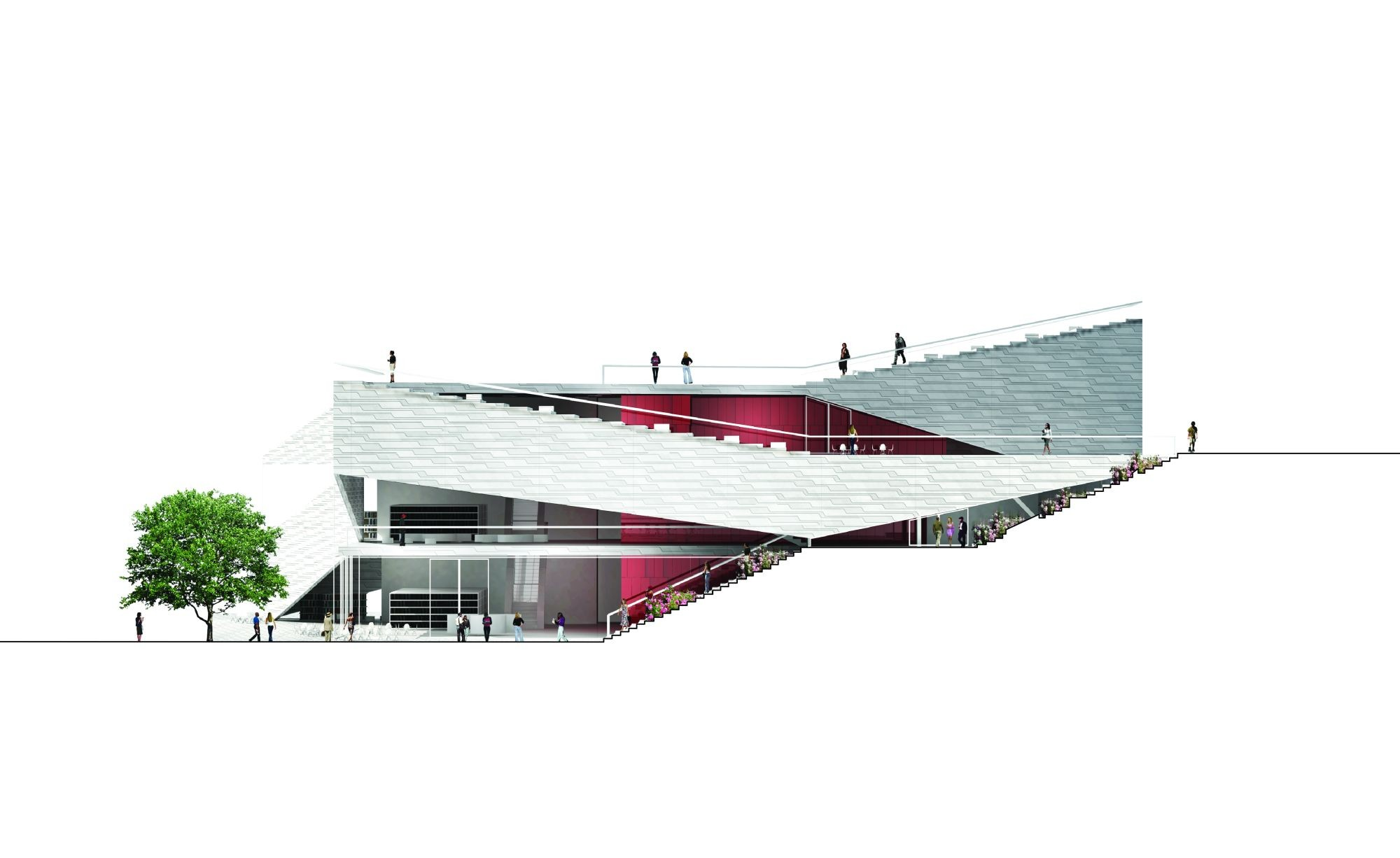 Ping Complex Plan Elevation Section : Gallery of plassen cultural center xn architects