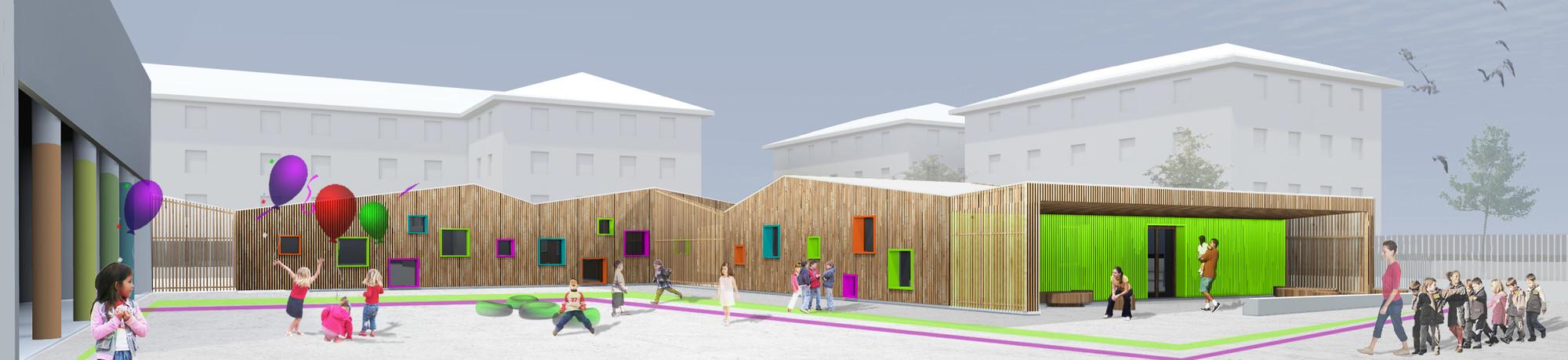 Edificio de educaci n infantil y haurreskola hiribarren for Planos mobiliario escolar peru