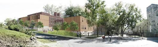 Bancroft Project Breaks Ground, Rendering for the Bancroft School in Kansas City, Missouri. Part of a revitalization effort by the community of Manheim Park, the Make It Right Foundation, and BINM Architects. Photo © BNIM Architecture + Planning