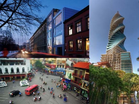 """3 of the top 9 countries to find work, according to our reader-led survey: Norway, Panama, and Thailand. Upper left: Oslo by Flickr User CC Peter Guthrie. Bottom left: """"Hanoi Traffic"""" by Flickr User pheochromocytoma. Right: """"Revolution Tower, Panamá City, Panamá"""" by Flickr User CC Chodaboy."""
