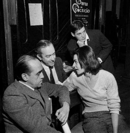 Oscar Niemeyer, Vinicius de Moraes, his wife Lila, and Tom Jobim