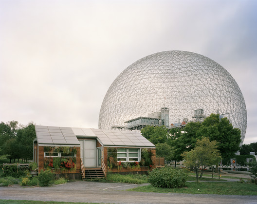 """Montreal 1967 World's Fair, """"Man and His World,"""" Buckminster Fuller's Geodesic Dome With Solar Experimental House, 2012. Photo © Jade Doskow."""