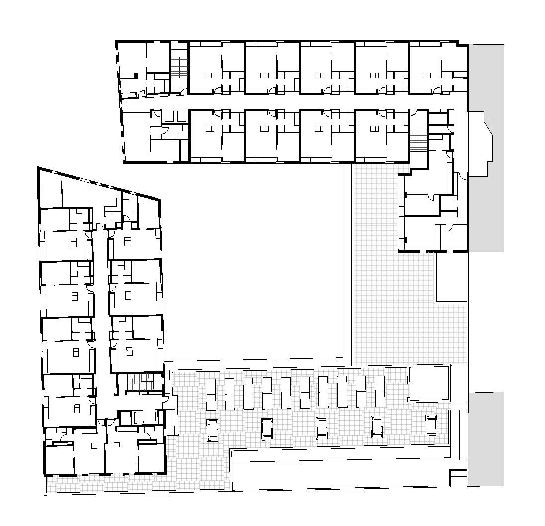 Gallery of 154 rental social housing and public building for Group house plans