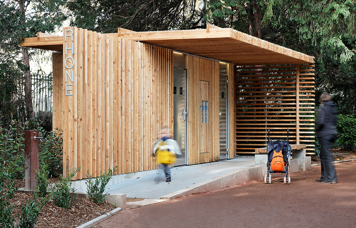 Gallery of public toilets in the t te d 39 or park jacky for Park restroom design