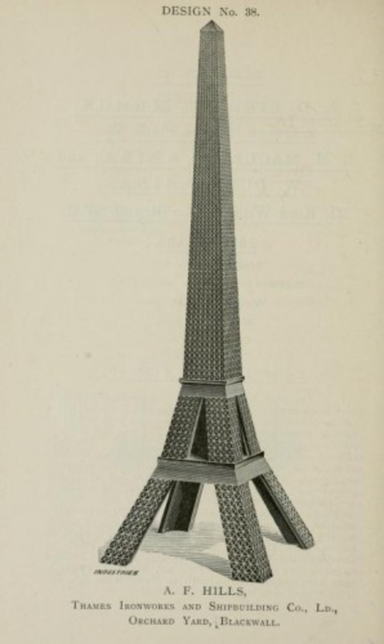 La competencia de la Torre de Londres en 1890, Cortesía de © Descriptive illustrated catalogue of the sixty-eight competitive designs for the great tower for London compiled and edited by Fred. C. Lynde --