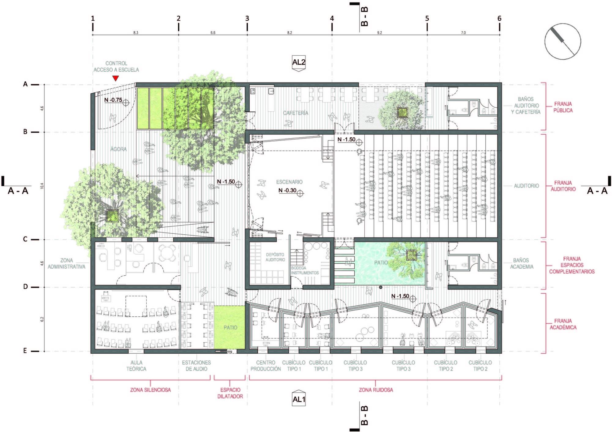 Galer a de prototipo para escuelas de m sica municipales for Plantas de colegios arquitectura