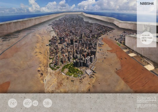 The 2nd Prize winner of the New York Cityvision context envision a New York City as Heritage Site, protected from the elements with a barrier-wall. Image via Cityvision.