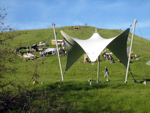 An example of a shelter project for Cal Poly's annual Design Village competition in which student-led teams from all across California build and then live in their structures for one weekend in the area just outside campus known as the Poly Canyon Experimental Structures Lab (© Courtesy CAED)