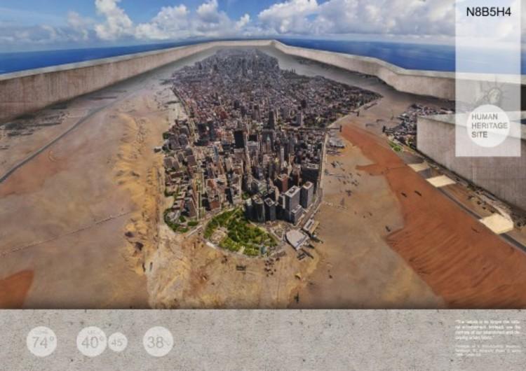 Arquitetura para o Apocalipse (Agora) , O vencedor do Segundo Prêmio do New York Cityvision com uma NOva York como Patrimônio da Humanidade, protegida de interferências por uma barreira em seu perímetro. Imagem via Cityvision.